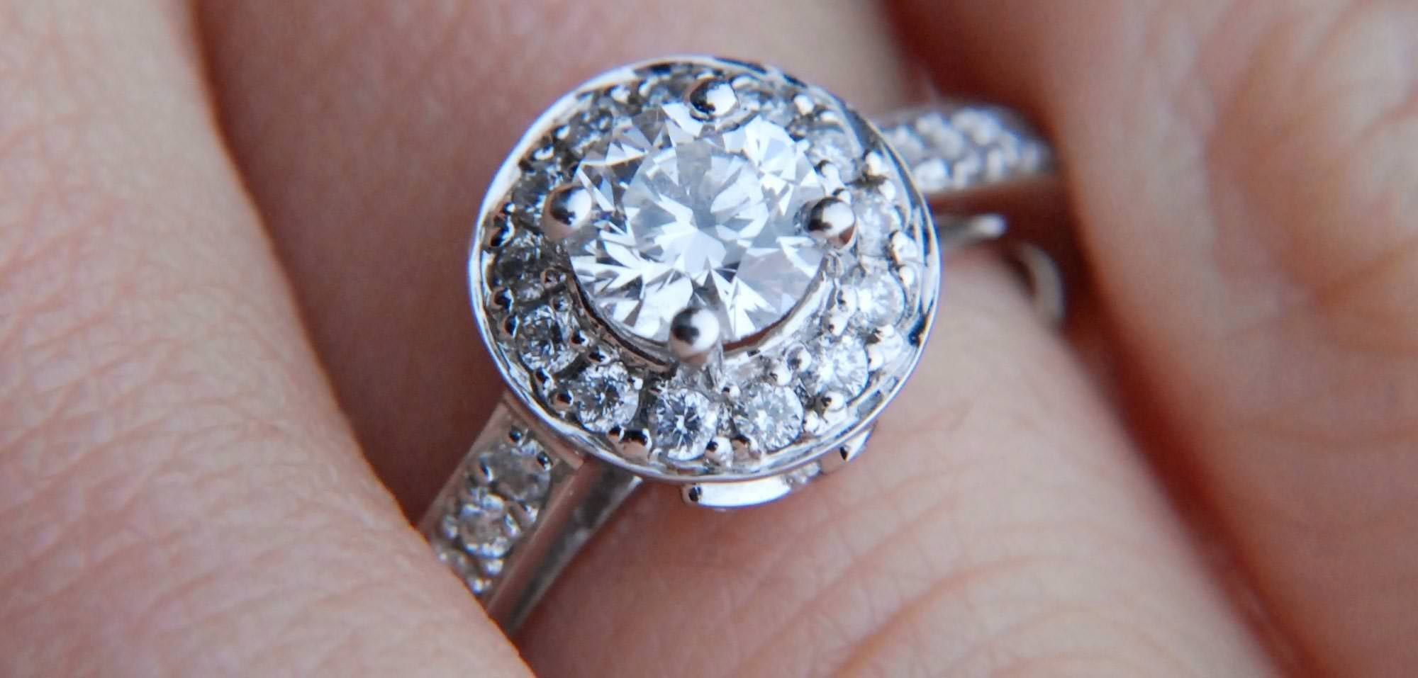 halo rings diamond mm round moissanite and ring
